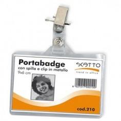 5 Portanome - portabadge con clip in metallo - 6X10
