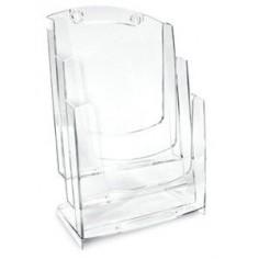 Portadepliant A4 - 3 scomparti e appendibile - in plex trasparente