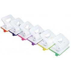 Perforatore in metallo bi colore  2 fori con guida - max 15 fogli