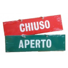 """Targa """" Aperto Chiuso"""" con catenella in pvc - 14,5 x 4 cm"""