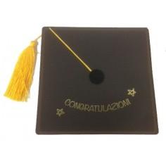 Biglietto per laurea a forma di cappello universitario detto tocco - 14x14 - nero