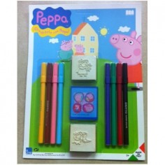Peppa Pig blister 8 colori + timbri in gomma