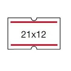 5 rotoli etichette prezzatrice 21x12 strisce rosse - alta qualità permanete - 5.000 etichette