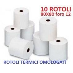 10 Rotoli termici Omologati universali - 80x80 Foro12 - per casse e ricevitorie