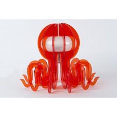 Lampada arredo a Led cambia colore - inserti in plex a forma di polpo  - arancione