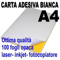 Carta adesiva bianca A4 opaca - 100 ff - stampanti laser inkjet fotocopiatrice