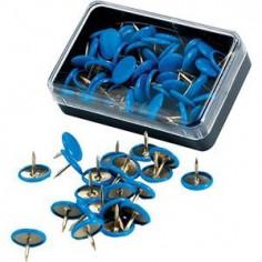 Puntine da disegno colorate ottonate - 50 pezzi blu