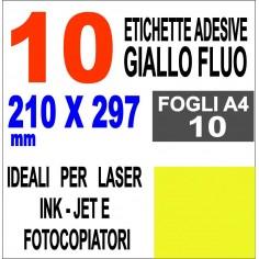Carta adesiva bianca A4 GIALLO FLUO - 10 ff - stampanti laser inkjet fotocopiatrice