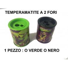 Temperino con serbatoio NINJA TURTLES a 2 fori in plastica - temperamatite con contenitore