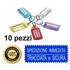 10 portachiavi con targhetta portanome doppia faccia in PVC rigidoin 5 colori assortiti