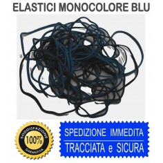 Elastici blu monocolore in busta  25 gr misure assortite