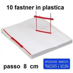 10 fastener rilegatori ion plastica per fogli passo 8 cm