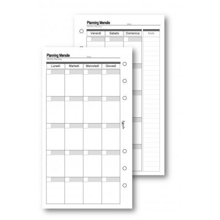 Ricambio fogli planning settimanale a caselle 9,5x17 da 50 fogli per agenda organizer