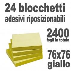 Foglietti adesivi riposizionabili - 76x76 giallo 24 pazzi