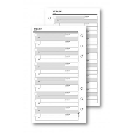 Ricambio fogli obiettivi 9,5x17 da 50 fogli per agenda organizer