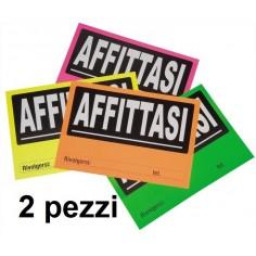 Cartello AFFITASI in cartoncino colorato fluo 32x22 2 pezzi assortiti