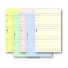 Ricambio fogli a righe colorati 7x12 per agenda organizer 50 fogli