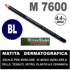 Matita dermatografica 7600 mitsubishi BLU matita per pelle plastica metallo vetro