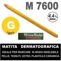 Matita dermatografica 7600 mitsubishi GIALLA N 2 matita per pelle plastica metallo vetro