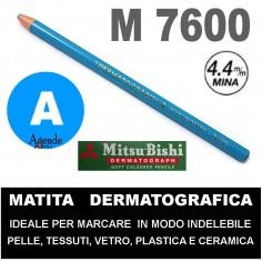 Matita dermatografica 7600 mitsubishi AZZURRO N 8 matita per pelle plastica metallo vetro