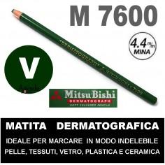 Matita dermatografica 7600 mitsubishi VERDE N 6 matita per pelle plastica metallo vetro