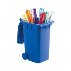 Portapenne forma di pattumiera coperchio chiudibile colore blu