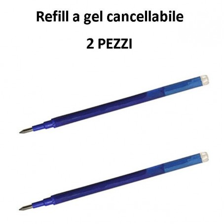 Refill ricambio penna gel cancellabile REWIND (2 pezzi) blu compatibile con frixion