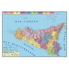 Carta geografica murale Sicilia 100x140 bifacciale fisica e politica