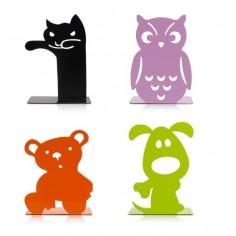 """Set 4 reggilibri in metallo """"Animals"""" in 4 vari colori12x17"""