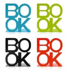 """Set 4 reggilibri in metallo """"BOOK"""" in 4 vari colori 12x14"""