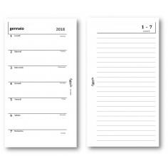 Ricambio agenda 2018  settimanale con note bianca 9,5 x 17 ricambio agenda organizer