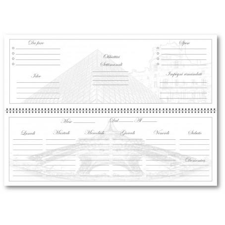 Planning agenda da tavolo settimanale spiralata PARIGI senza data  con note  ( carta 90 gr )  10x30 - planner da tavolo