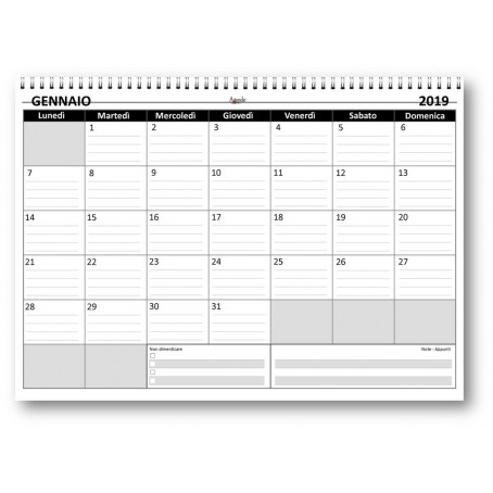 Planning mensile 21x30 GREY bi-annuale ( 2019 + 2020 ) SPIRALATO ( 24 fogli da 160 gr ) agenda da tavolo mensile