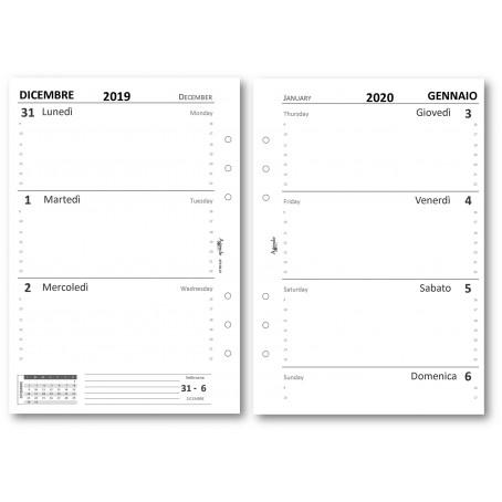 Ricambio agenda 2019 settimanale bianco SENZARIGHE 14x21 ( 90 grammi ) ricambio agenda organizer