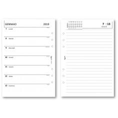 Ricambio agenda 2019 settimanale con NOTE bianco 14,5x21 ricambio agenda organizer