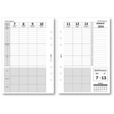 Ricambio agenda 2019 settimanale verticale con note 14x21 bianco ricambio agenda organizer