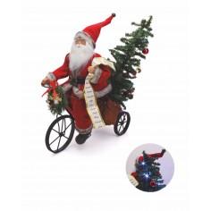 Babbo Natale in bicicletta ed albero luminoso 44x50x24