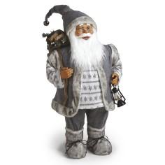 Babbo Natale con laterna GRIGIO alto ben 80 cm