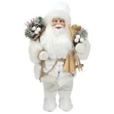 Babbo Natale con sci tutto BIANCO alto 33 cm