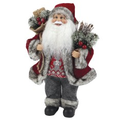 Babbo Natale con sacca ROSSO alto 33 cm