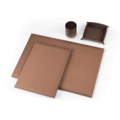 Servizio da scrivania IL RETINATO in ecopelle rugata marrone ( 4  pezzi ) sottomano 2 specchi
