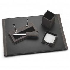 Servizio da scrivania in ecopelle e tessuto tipo jeans 5 pezzi colore grigio