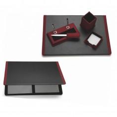 Servizio da scrivania in ecopelle e tessuto tipo jeans 5 pezzi colore bordeaux