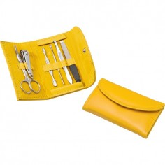 Set manicure da borsa ( 6 pezzi ) in borsellino ecopelle giallo