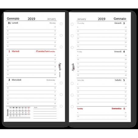 Ricambio agenda 2019 settimanale bianco 9,5 x 17 bilingua ricambio agenda organizer