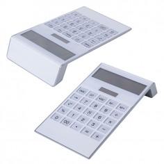 Calcolatrice da tavolo 12 cifre WHITE display inclinato ( 1 pezzo ) 10x19 doppia alimentazione