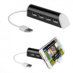 Hub USB 4 porte con porta cellulare colore nero ( 1 pezzo )