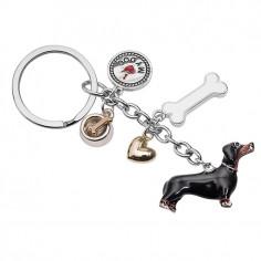 Portachiavi DOG con 5 pendenti in metallo cromato lucido posy portachiavi in acciaio cromato