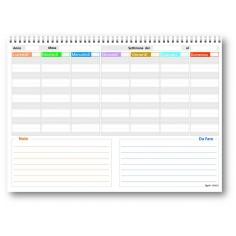 Planning da tavolo 21x30 SPIRALATO PiXEL con note - non datata ( 55 fogli da 90 gr ) agenda da tavolo perpetua
