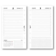 Ricambio agenda 2020 giornaliero bianco (9,5 x 17) ricambio agenda organizer
